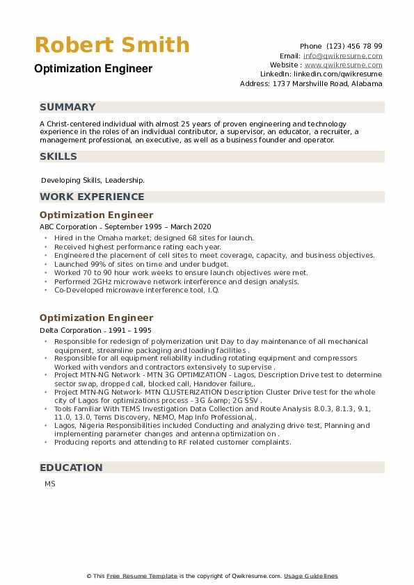Optimization Engineer Resume example