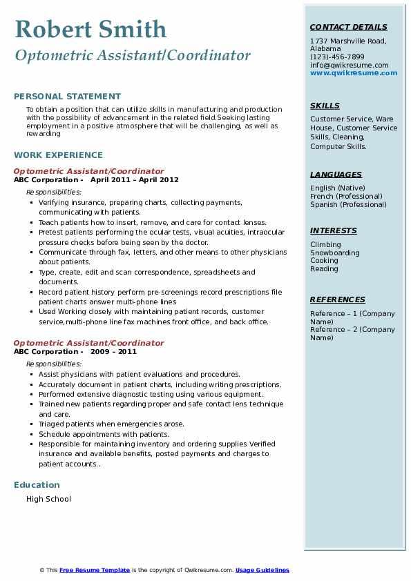 optometric assistant resume samples  qwikresume