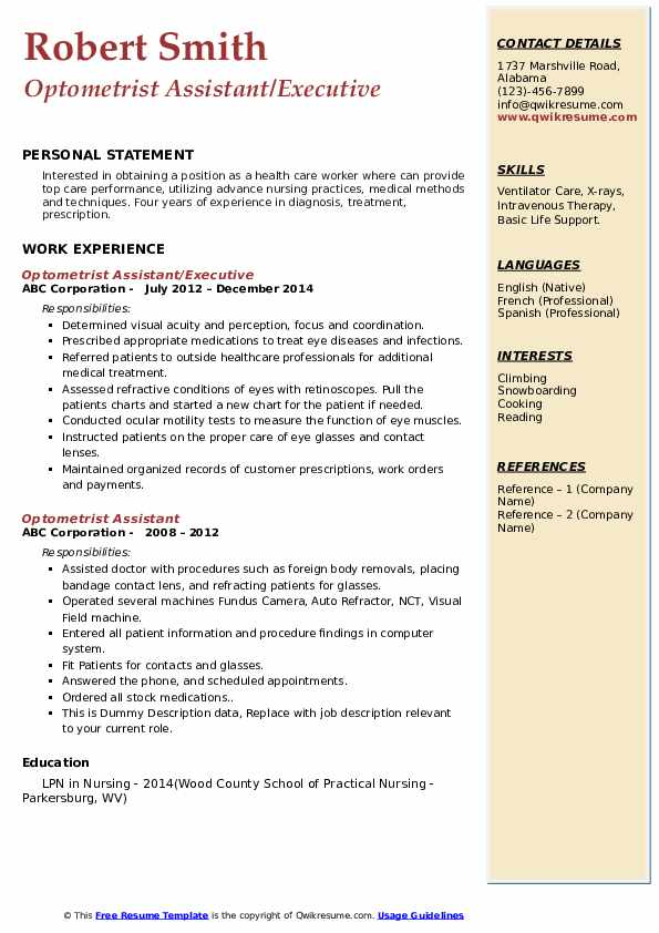 Optometrist Assistant/Executive Resume Example