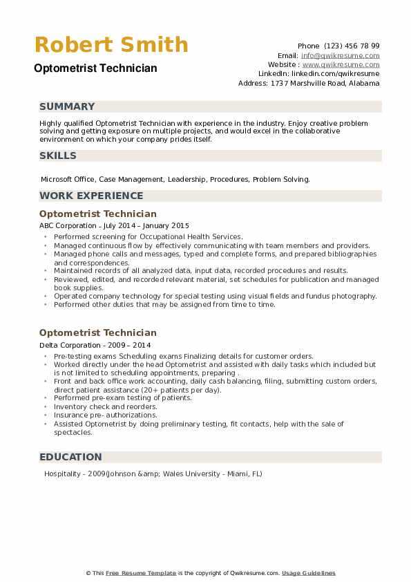 Optometrist Technician Resume example