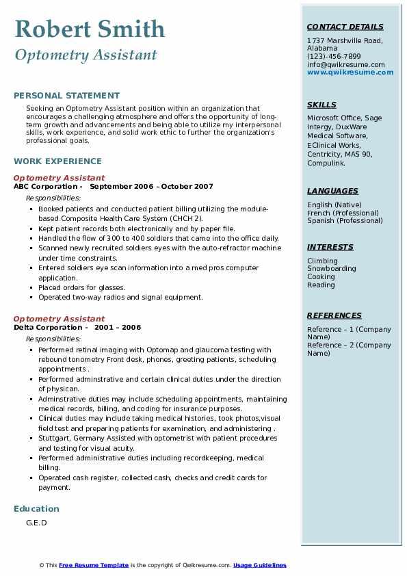 optometry assistant resume samples  qwikresume