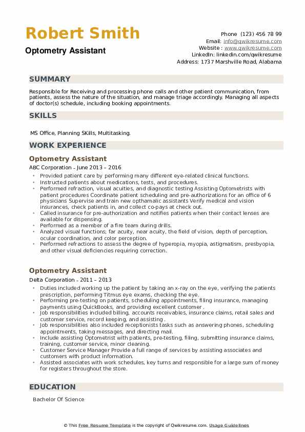 Optometry Assistant Resume example