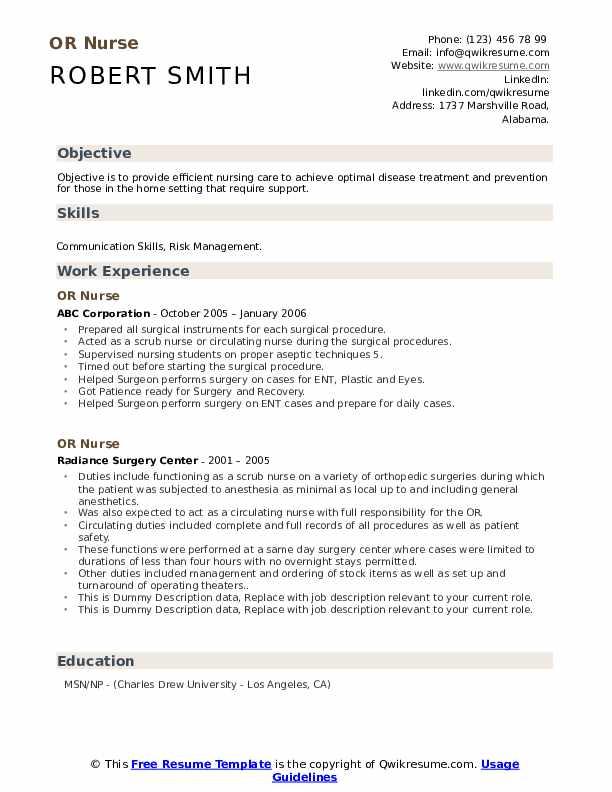 OR Nurse Resume example