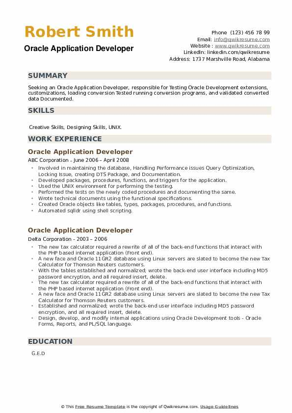 Oracle Application Developer Resume example