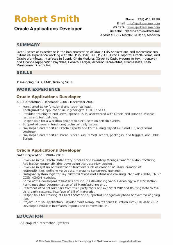 Oracle Applications Developer Resume example