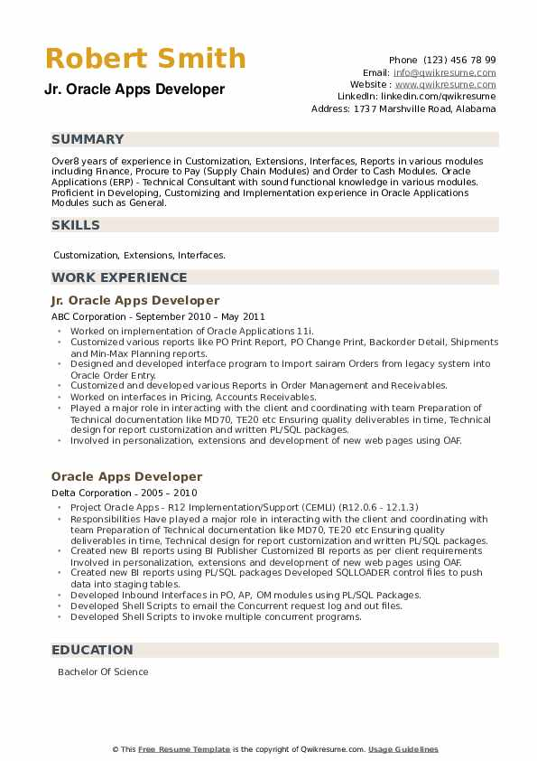 Oracle Apps Developer Resume example