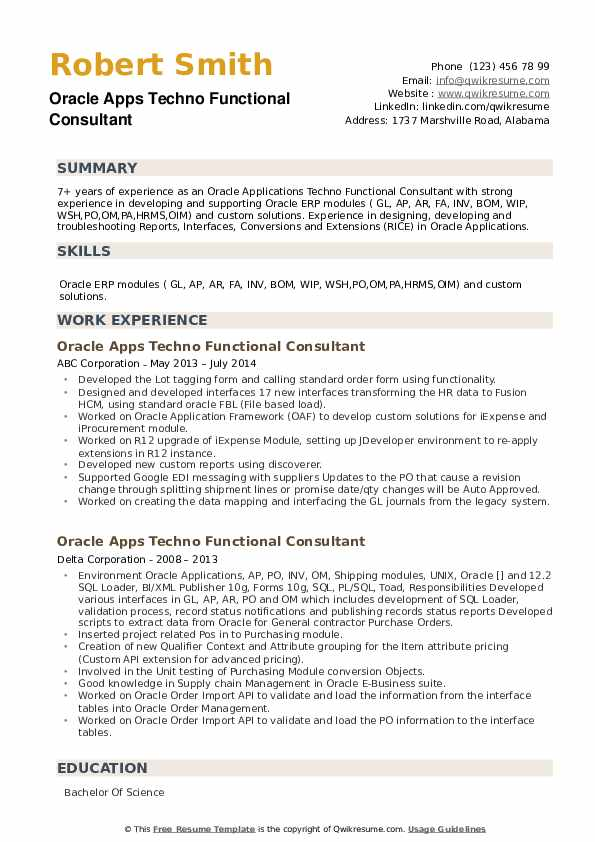 Oracle Apps Techno Functional Consultant Resume example