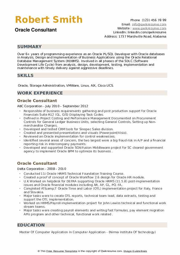 Oracle Consultant Resume example