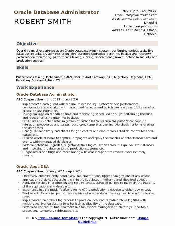 Oracle Database Administrator Resume Samples | QwikResume
