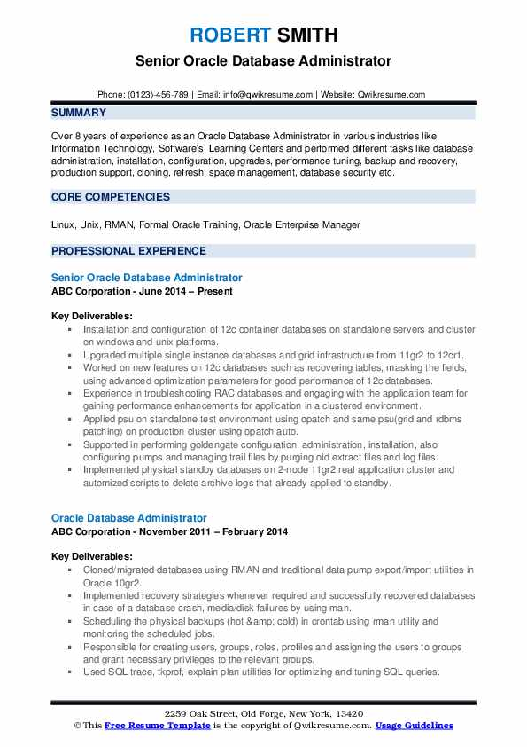 Oracle Database Administrator Resume Samples | QwikResume