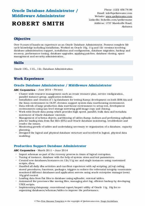oracle database administrator resume samples