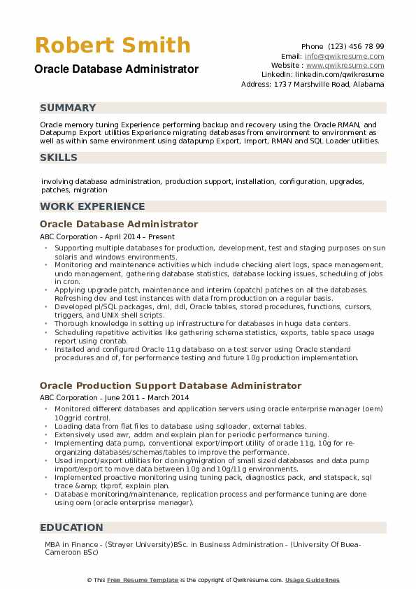 Oracle Database Administrator Resume example