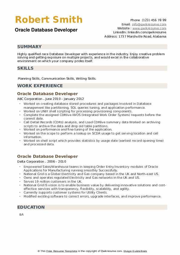 Oracle Database Developer Resume example
