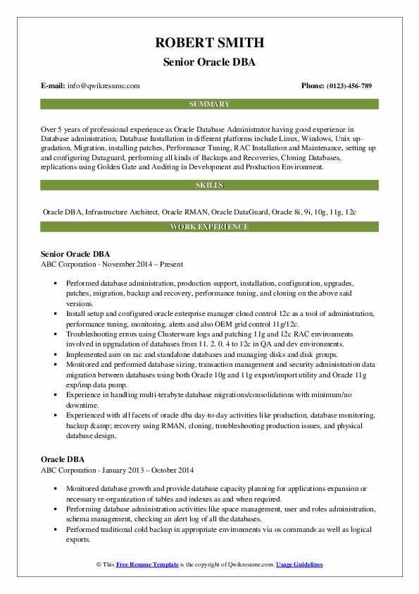 oracle dba resume samples