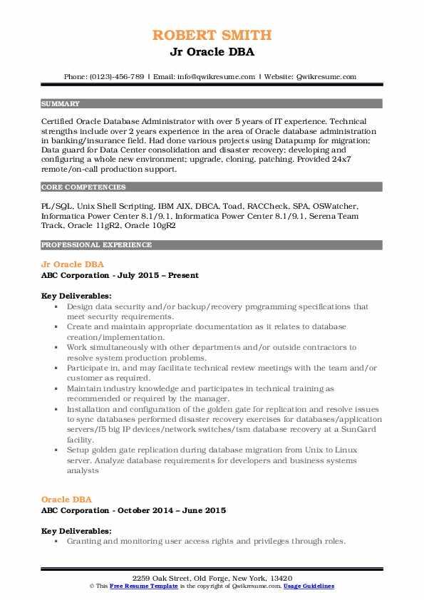 Jr Oracle DBA Resume Format