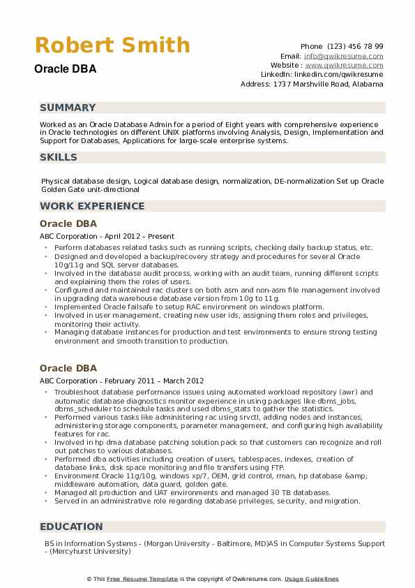 oracle dba resume samples