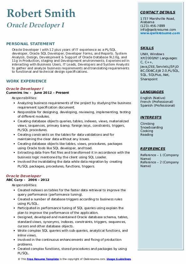 Oracle Developer I Resume Sample