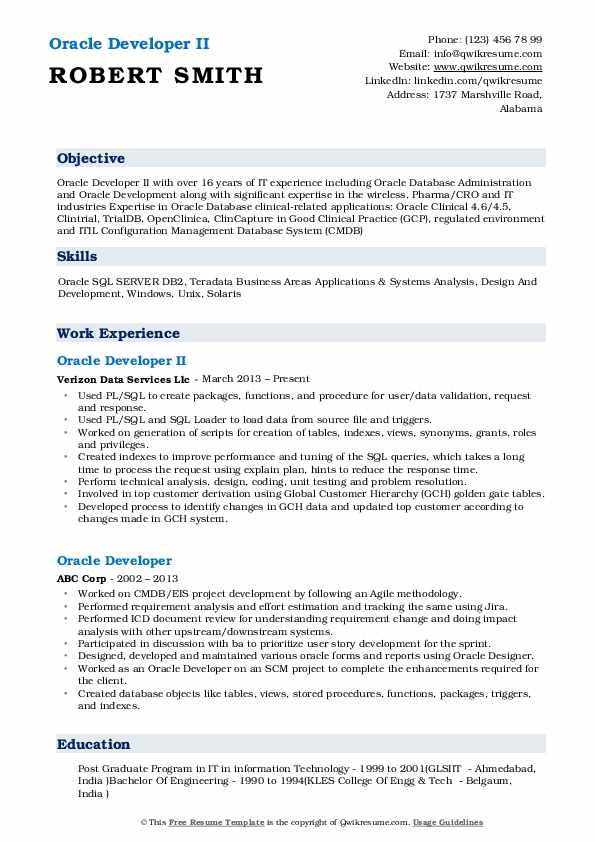 Oracle Developer II Resume Template