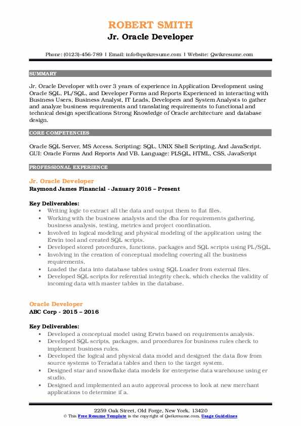 oracle developer resume samples