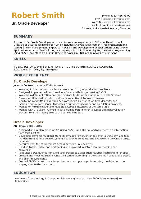 Oracle Developer Resume Example