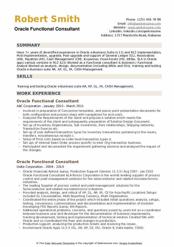 Oracle Functional Consultant Resume example