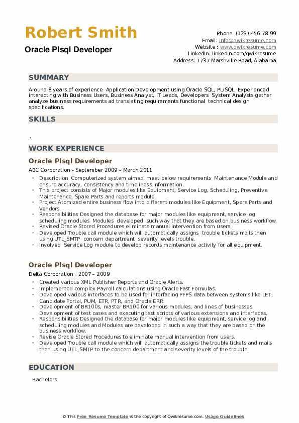Oracle PLSQL Developer Resume example