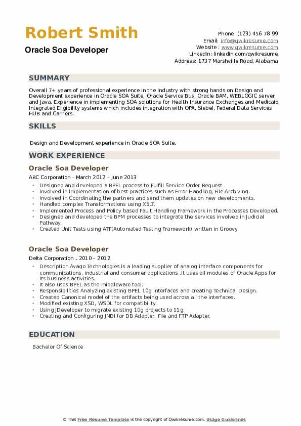 Oracle SOA Developer Resume example