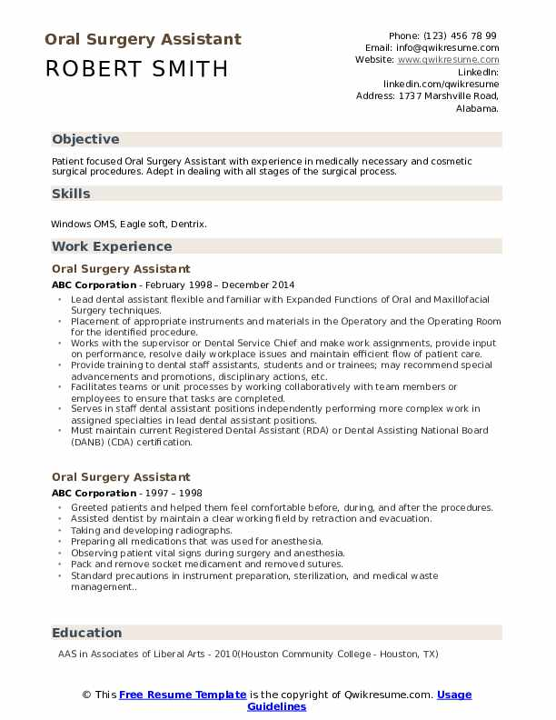 Oral Surgery Assistant Resume Samples | QwikResume