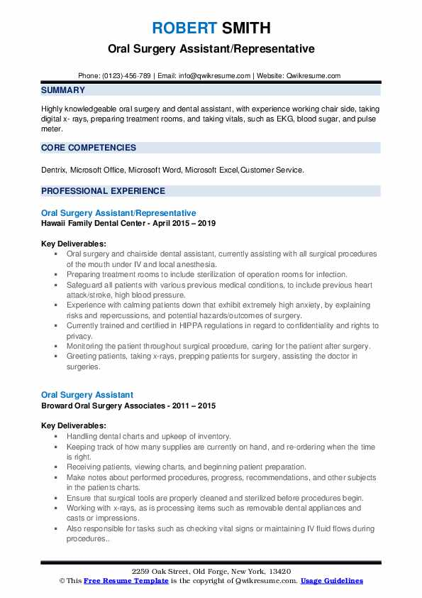 Oral Surgery Assistant/Representative Resume Sample