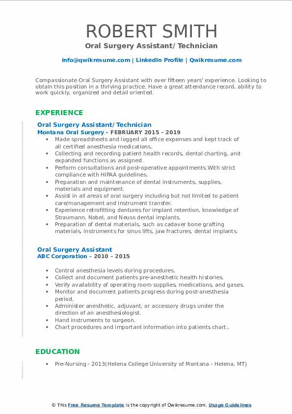 Oral Surgery Assistant/ Technician Resume Example