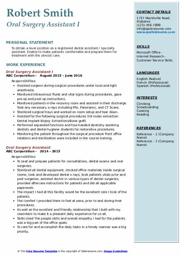 Oral Surgery Assistant I Resume Format