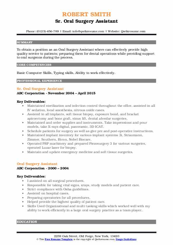 Sr. Oral Surgery Assistant Resume Example