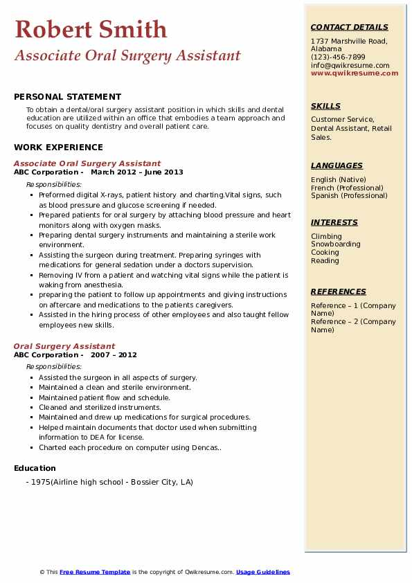 Associate Oral Surgery Assistant Resume Model