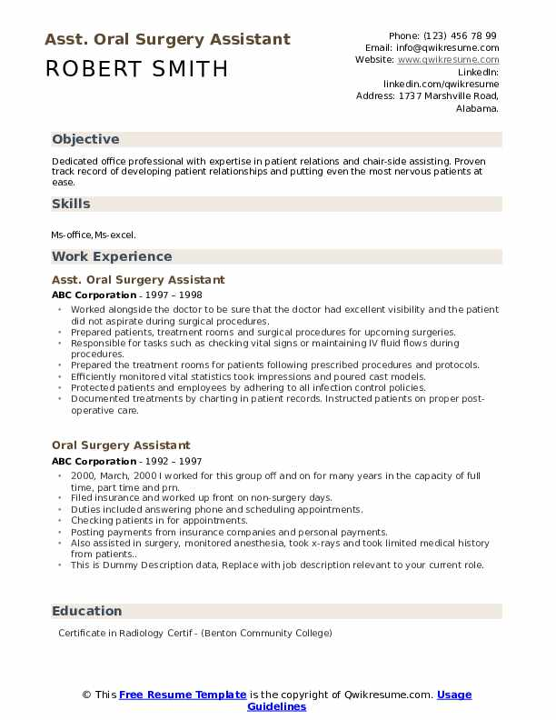 Asst. Oral Surgery Assistant Resume Example