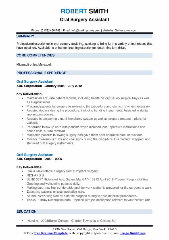 Oral Surgery Assistant Resume example