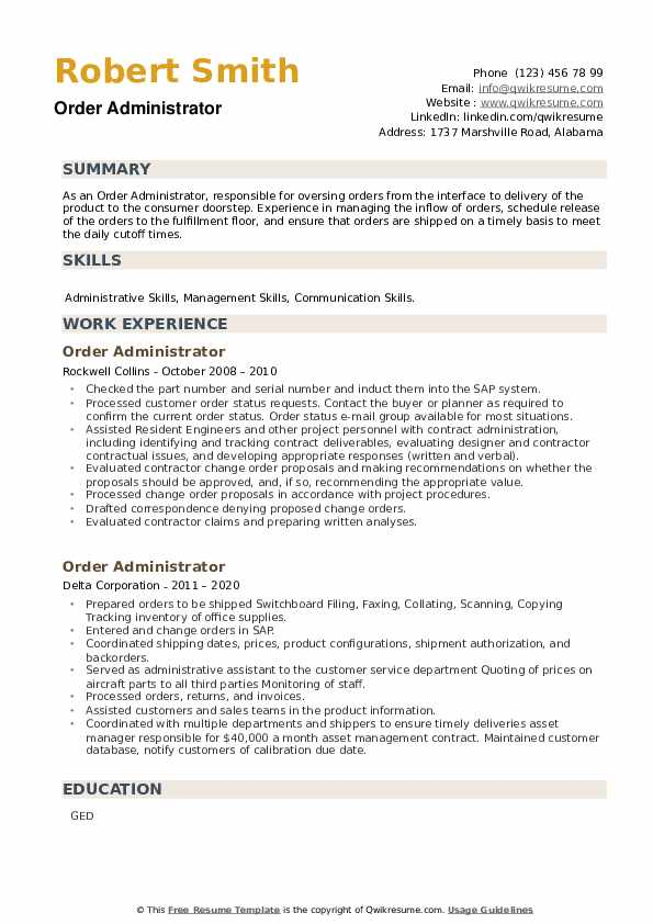 Order Administrator Resume example
