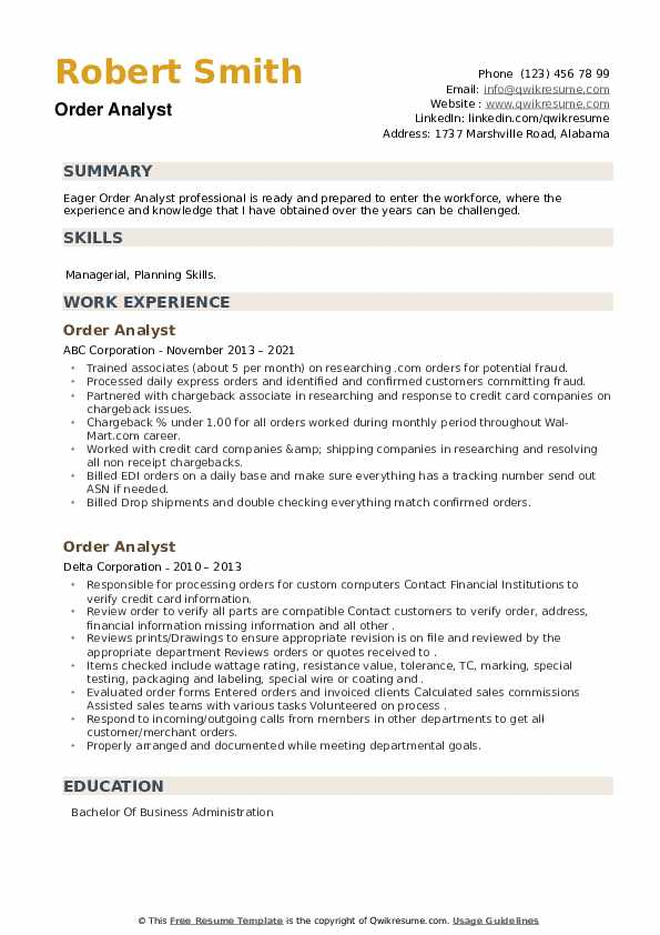 Order Analyst Resume example