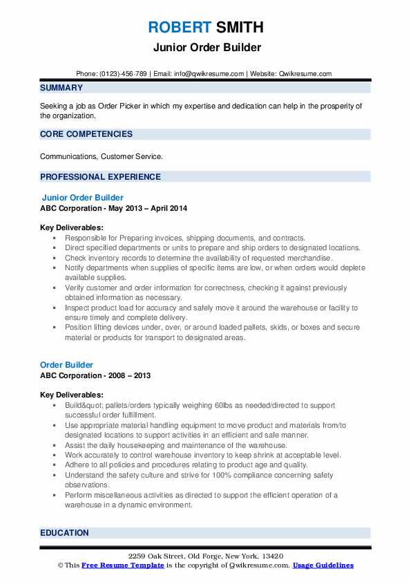 Junior Order Builder Resume Format