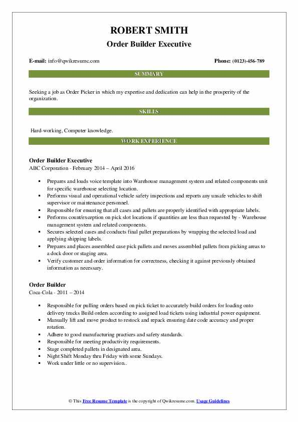 Order Builder Executive Resume Example