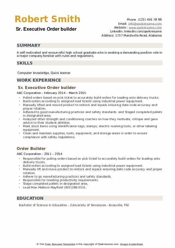 Sr. Executive Order builder Resume Template