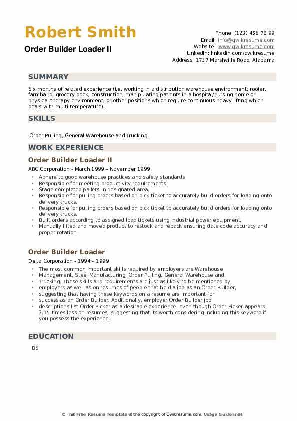 Order Builder Loader Resume example