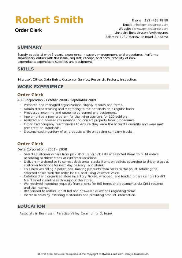 Order Clerk Resume example