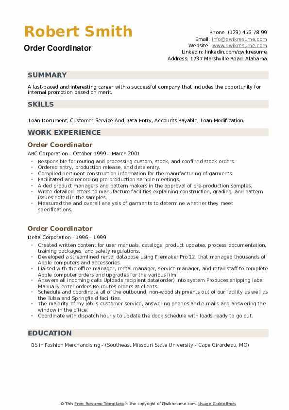 Order Coordinator Resume example
