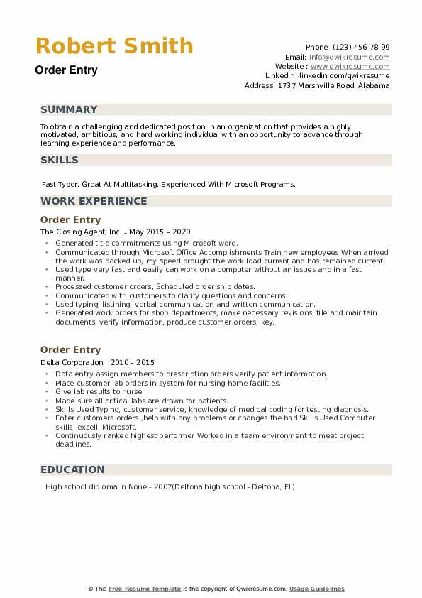 Order Entry Resume example