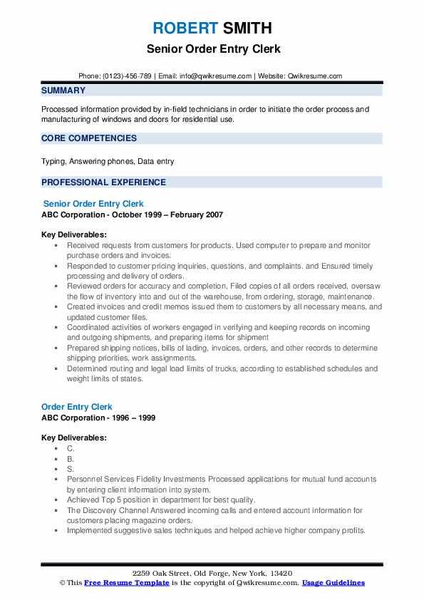 Senior Order Entry Clerk Resume Model