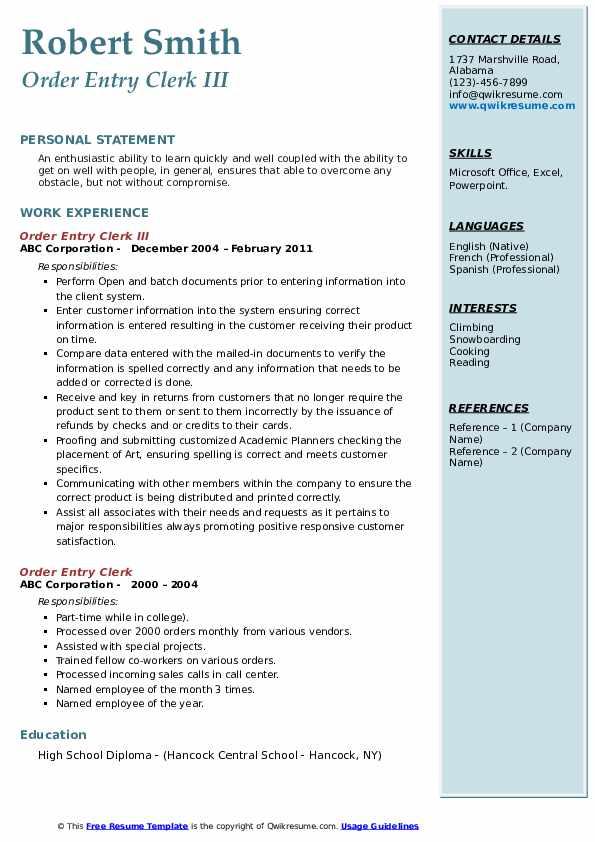 Order Entry Clerk III Resume Template
