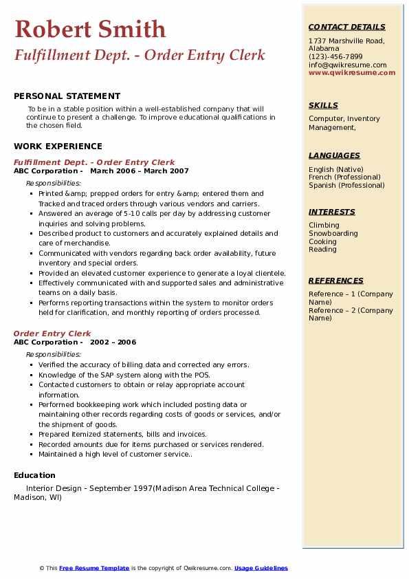 Fulfillment Dept. - Order Entry Clerk Resume Model
