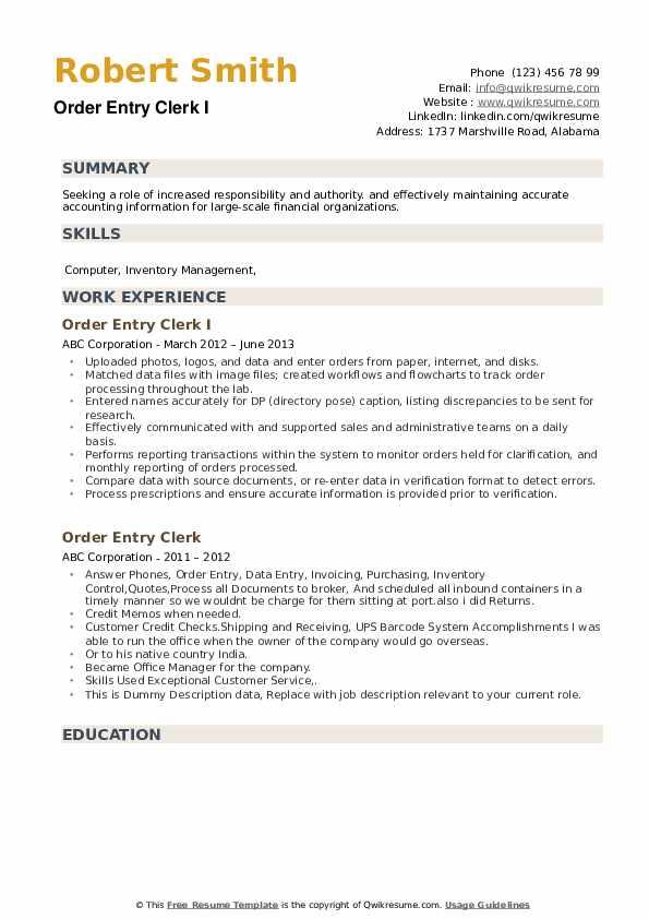 Order Entry Clerk I Resume Format