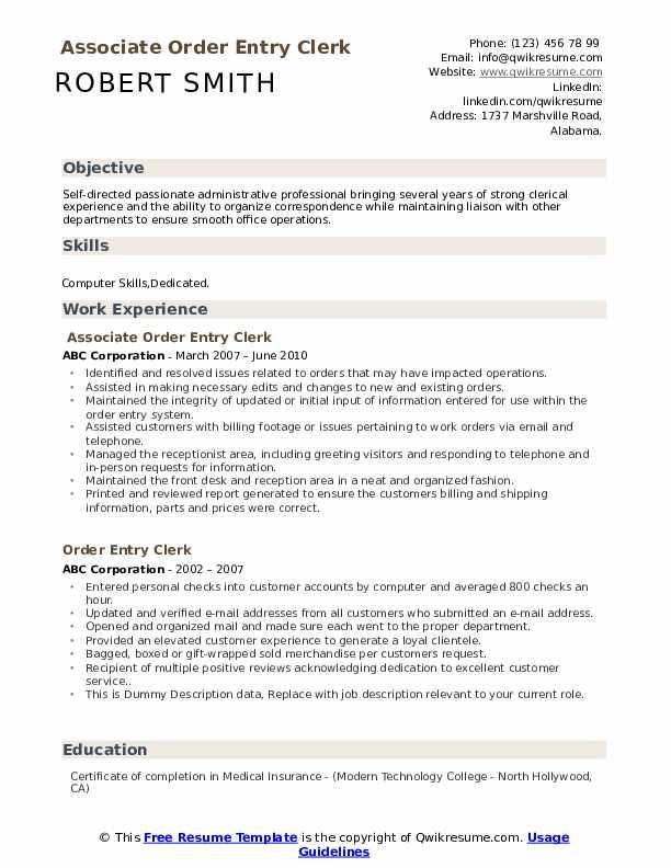 Associate Order Entry Clerk Resume Sample