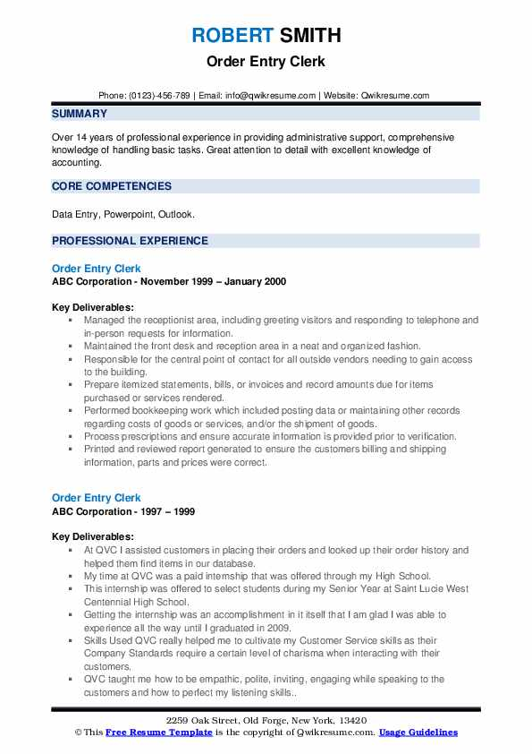 Order Entry Clerk Resume example